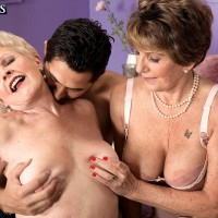 Bisexual nans take on a younger Latino man during a threesome on a bed