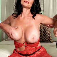 Over 60 MILF tangles with black and white lovers in a red bodystocking