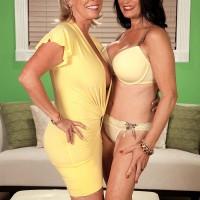Naughty 60 plus ladies Lexi McCain and Rita Daniels sucking cock in FFM 3some