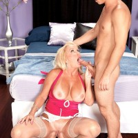 Sexy blonde GILF takes control of the situation during sex with a younger lad