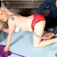 Mature blonde lady fucks a couple of mechanics for free vehicle repairs