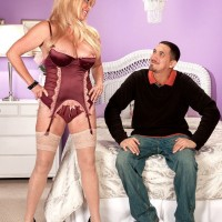 Stocking and lingerie attired MILF over 60 Lexi McCain baring big tits and ass