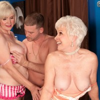 Busty over 60 lesbians Lola Lee and Jewel sucking cock in hose and heels
