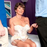 60 plus MILF is freed from her retro lingerie wearing garters and nylons