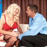 Sexy blonde MILF over 60 Summeran Winters undressed for sex by younger man
