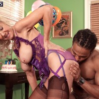Leggy 60 plus pornstar having interracial sex with BBC in sexy lingerie and nylons