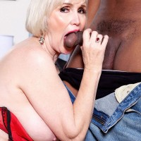 Blonde MILF 60 plus Lola Lee sucking and fucking BBC in stockings and garters