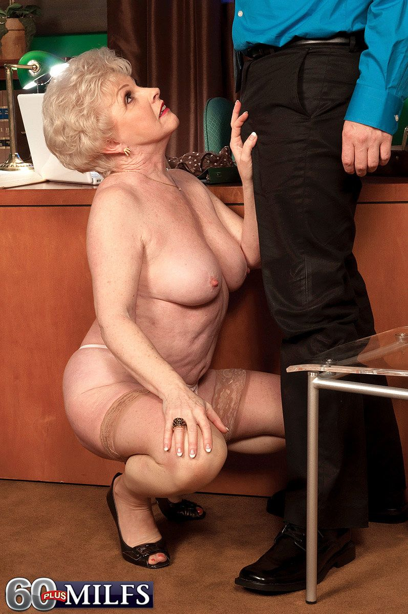 60 plus MILF Jewel seducing younger man in tan stockings and thong underwear