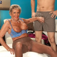 Tall granny has her freckled boobs played with by her young Latino lover
