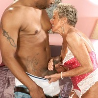 Over 70 GILF Sandra Ann sucks on a younger stud's big black dick like a trooper