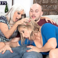 Sixty plus cougars Sally D'Angelo and Luna Azul give a double hand-job and blow-job