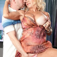 Aged blonde solo girl Cara Reid whipping out gigantic grandma XXX pornstar knockers before sex