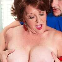 Aged European woman Gabriella LaMay unveiling immense knockers before delivering blowjob