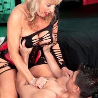 Beautiful grandma X-rated actress Phoenix Skye seducing sex from junior stud in tempting lingerie