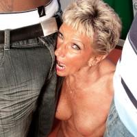 Big-boobed over Seventy grandma Sandra Ann undressed for interracial MMF 3some sex