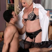 Big-boobed platinum-blonde 60 plus MILF Scarlet Andrews having nips blown and taunted