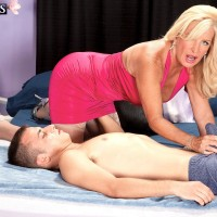 Blonde MILF over 60 Julia Butt loosing giant tits before sitting astride of humungous knob