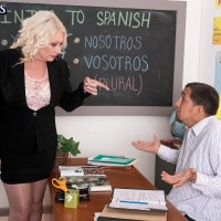 Bosomy sandy-haired 60 plus MILF lecturer Angelique DuBois jacking monster-sized penis in classroom