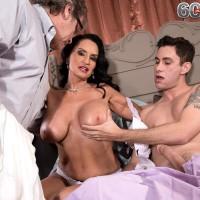 Buxom mature pornstar Rita Daniels funbag screwing and riding on top of immense wood