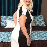 Chubby Sixty plus MILF Vikki Vaughn revealing plus sized old woman ass and enormous juggs