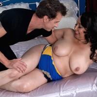 Elderly dark-haired broad Rochelle Sweet revealing huge all-natural boobies for nipple sucking