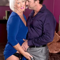 Fully-clothed 60 plus MILF Jeannie Lou whipping out humungous mature fun bags in crotchless panties