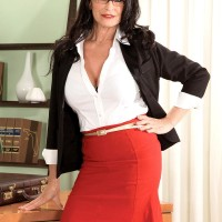 Gawky black-haired Rita Daniels showing off older upskirt undies before MMF 3 way