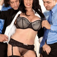 Gawky black-haired Rita Daniels showing off older upskirt undies before MMF 3 way