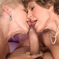 Horny nannas Bea Cummins and Jewel tongue kiss and give large boner double ORAL PLEASURE