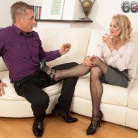 Enticing older dame Beata gives a ball slurping blowjob after seducing a junior boy