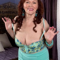 Huge-boobed redhead MILF over Sixty Katherine Merlot providing enormous wood boobjob in hose