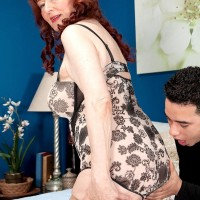 Huge-chested redhead grannie Katherine Merlot giving big rod blowjob in tights