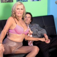 Huge-chested sandy-haired MILF over 60 Bethany James giving monster-sized rod blow-job in work place