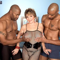 Huge-chested Sixty plus MILF Bea Cummins jerking BIG BLACK DICK in multiracial three way sex jamboree