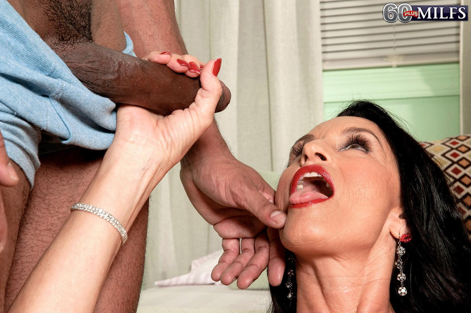 Huge-titted black-haired grandmother Rita Daniels having butt plug jammed in wild bulls eye