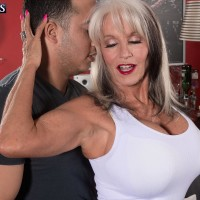 Leggy 60 plus MILF Sally D'Angelo baring big older juggs before milking hard-on