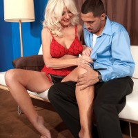 Leggy blond grannie Summeran Winters having gigantic natural tits liberated from melon-holder