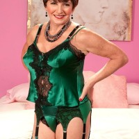 Lingerie and stocking clad Sixty plus MILF Bea Cummins freeing massive older melons