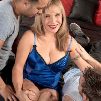 Lingerie garbed fair-haired grandma Luna Azul baring monster-sized tits before MMF threesome sex