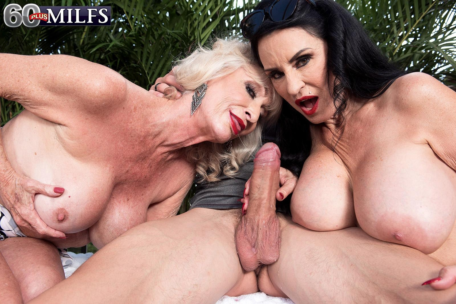 Aged woman Rita Daniels and her girlfriend entice and sucks off a younger guy