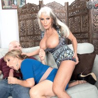 Nasty Sixty plus MILFS Sally D'Angelo and Luna Azul providing huge hard-on blowjob in threeway