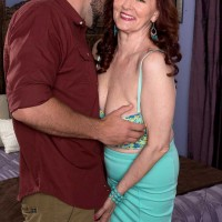 Older Babe Katherine Merlot Takes A Younger Man's Cock