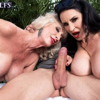 Older broad Rita Daniels and her wife tempt and blow off a younger guy