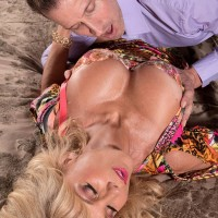 Older yellow-haired solo girl Cara Reid baring lovely breasts for licking of X-rated film star nipples