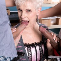 Over 60 older XXX starlet Jewel slurping off immense boners during multiracial MMF