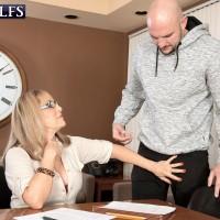 Over sixty instructor Luna Azul tempts a masculine schoolgirl in her work environment