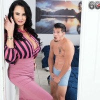 Over Sixty MILF Rita Daniels tempts her stepson and drains his rod after disrobing him