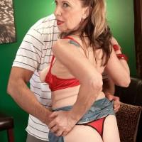 Platinum-blonde MILF over 60 Miranda Torri uncovering humungous natural funbags and bare ass