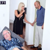 Provocative grannie Leah L'Amour deep-throats and fucks a large dick while her spouse sleeps