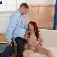 Red-haired grannie Katherine Merlot baring monster-sized saggy aged hooters before BJ